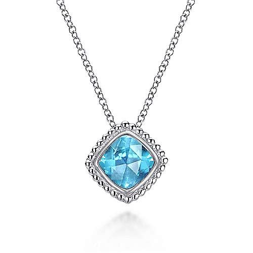 Gabriel & Co NK3816 Swiss Blue Topaz Silver Necklace