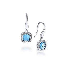 EG11699 Swiss Blue Topaz Silver Drop Earrings