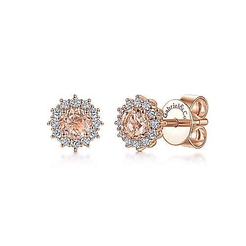 EG11819 14kt Rose Gold Morganite & Diamond Earrings