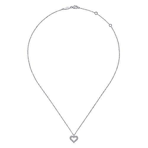 Gabriel & Co NK6489 14kt White Gold Diamond Heart Necklace