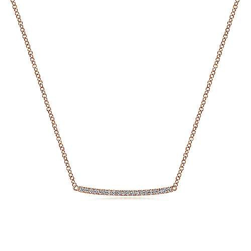 Gabriel & Co NK5986 Curved Pave Diamond Bar Necklace