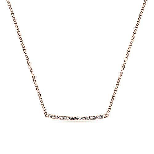 NK5986 Curved Pave Diamond Bar Necklace