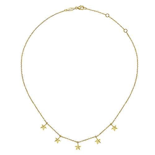 Gabriel & Co 14kt Yellow Gold Star Drop Station Necklace
