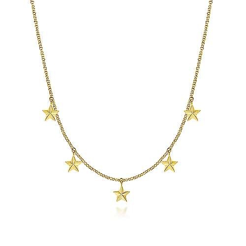 14kt Yellow Gold Star Drop Station Necklace