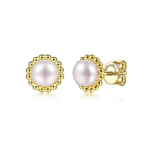Beaded Gold Pearl Stud Earrings