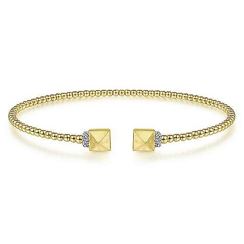 14kt Yellow Gold Cuff Bracelet with Pyramid & Diamond Caps