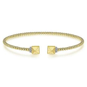 14kt Yellow Gold Cuff Bracelet with Pyramid & Diamond Caps