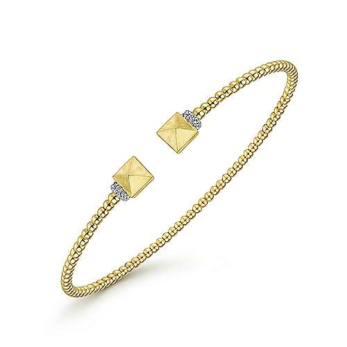 Gabriel & Co 14kt Yellow Gold Cuff Bracelet with Pyramid & Diamond Caps