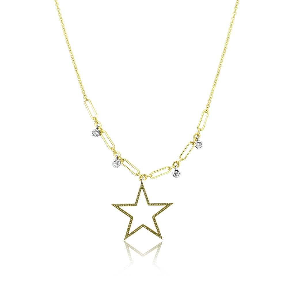 Meira T Champagne Diamond Star Necklace
