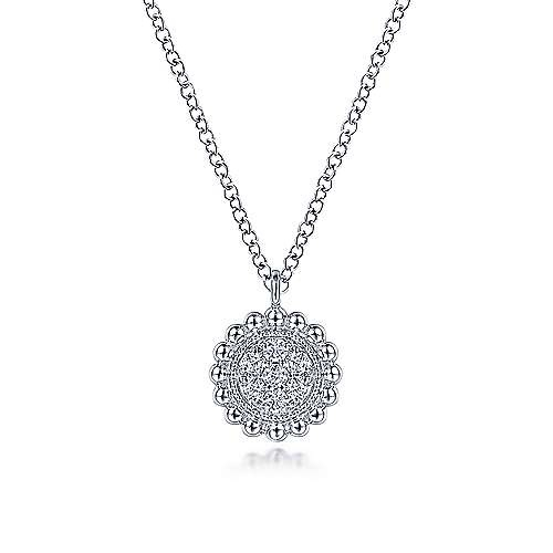 Gabriel & Co NK6465 Diamond Cluster Pendant Necklace