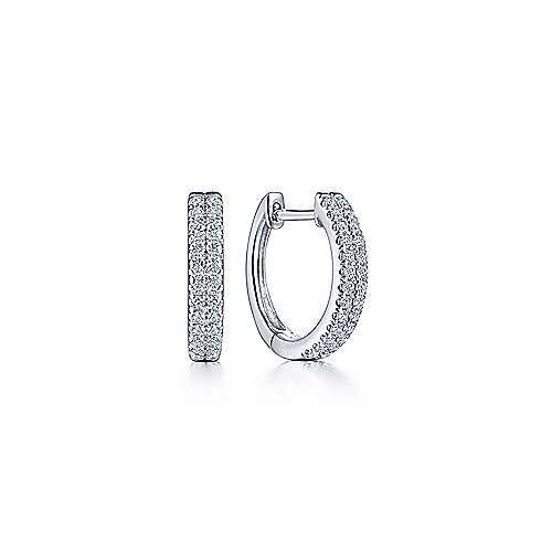14kt white gold double row huggie earrings 0.25 ct