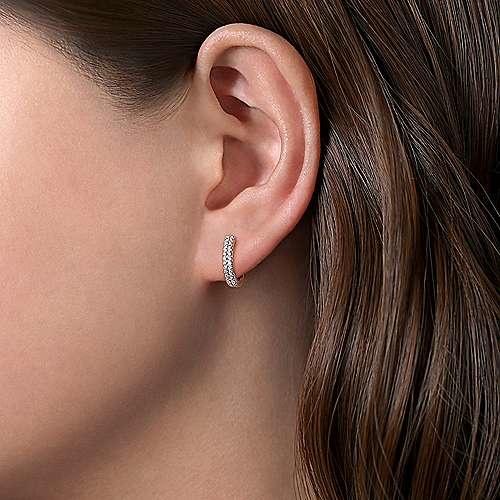 Gabriel & Co 14kt white gold double row huggie earrings 0.25 ct