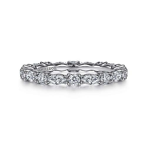Gabriel & Co AN15568 alternating round and marquise eternity band