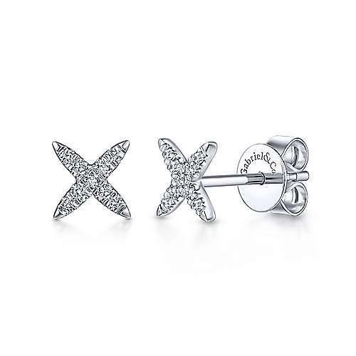 14kt White Gold X Shaped Diamond Earrings