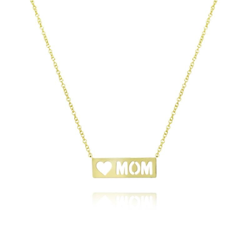 Meira T 14kt Yellow Gold Mom Plate Necklace