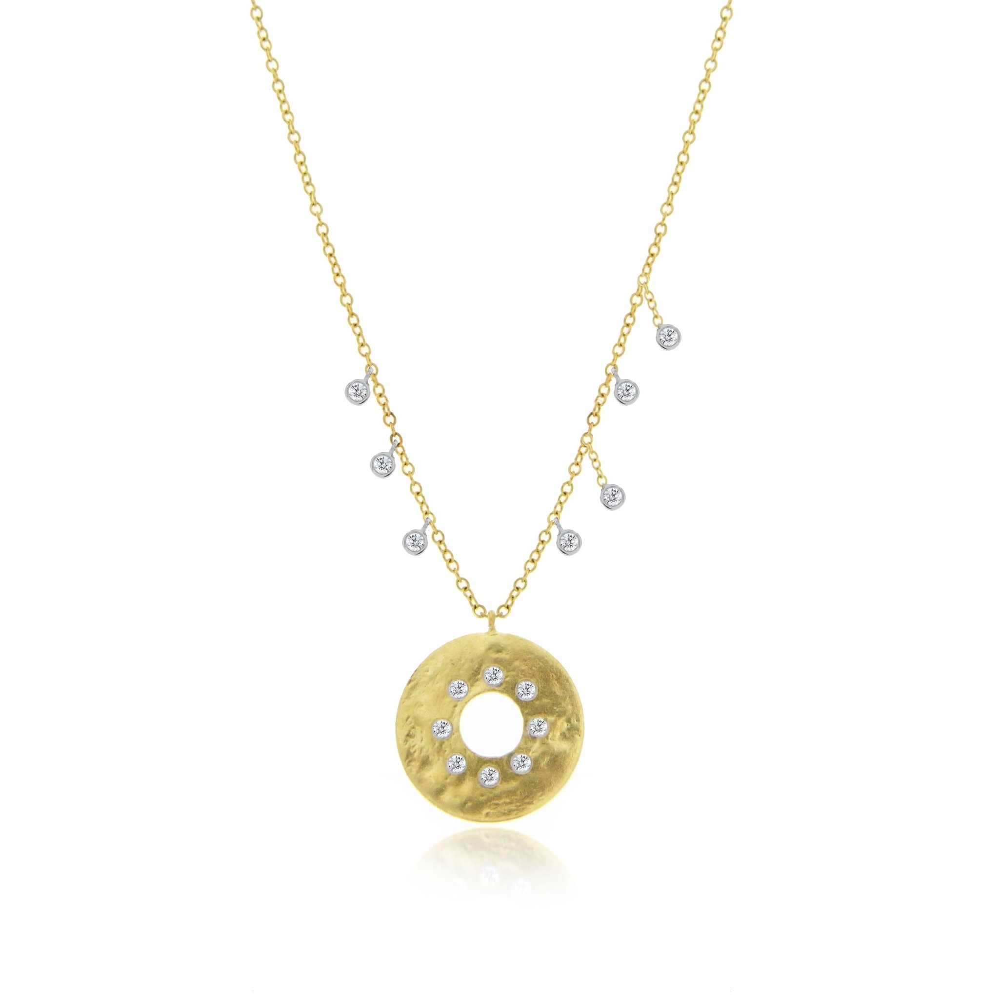 Meira T N11695 Gold Disk Diamond Necklace