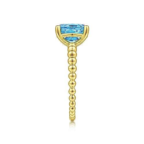 Gabriel & Co Oval Swiss Blue Topaz Beaded Ring