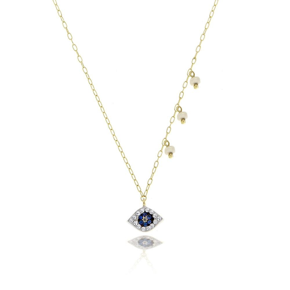 N11256 Yellow Gold Evil Eye Necklace