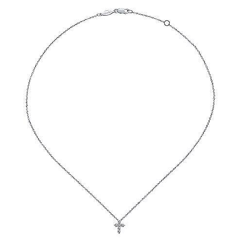 Gabriel & Co NK1370 14kt Gold Diamond Cross Necklace