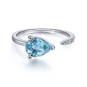 14kt White Gold Blue Topaz & Diamond Split Ring