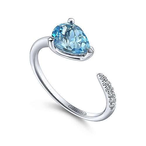 Gabriel & Co 14kt White Gold Blue Topaz & Diamond Split Ring