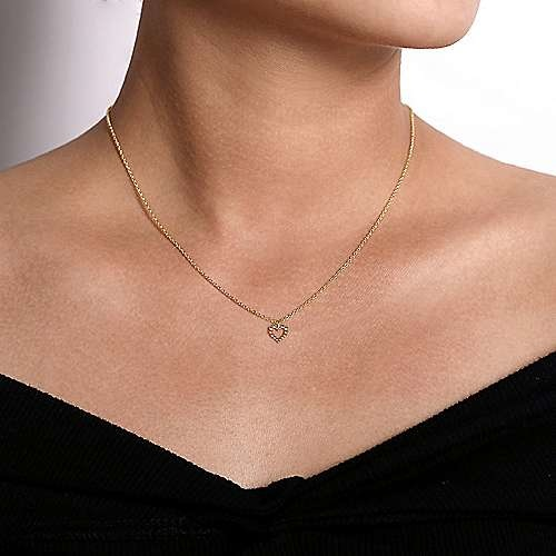 Gabriel & Co NK6463 14kt Yellow Gold Beaded Open Heart Necklace
