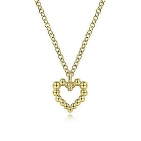 NK6463 14kt Yellow Gold Beaded Open Heart Necklace