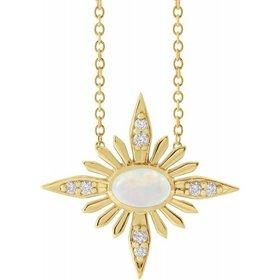 14kt Gold Celestial Opal & Diamond Necklace