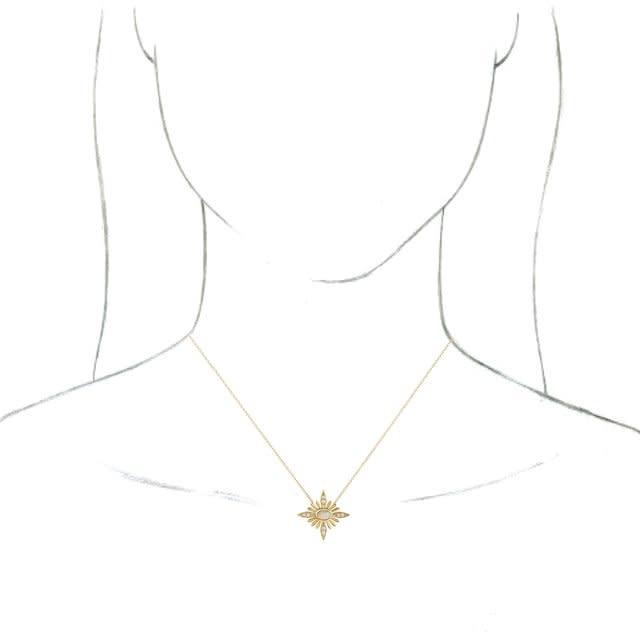 Stuller 14kt Gold Celestial Opal & Diamond Necklace