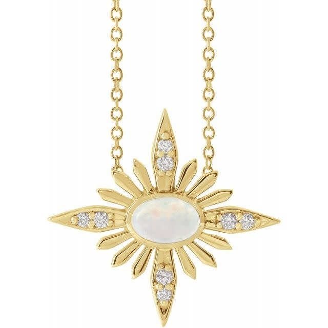 Stuller 14kt Gold Celestial Opal & Diamond Necklace