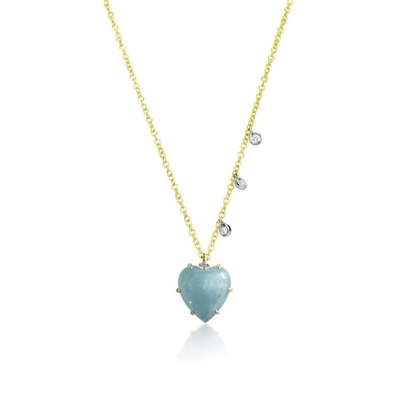 Milky Aqua Heart Necklace