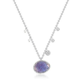 Tanzanite Necklace with Pearl & Diamond Accents