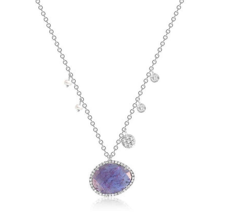 Meira T Tanzanite Necklace with Pearl & Diamond Accents