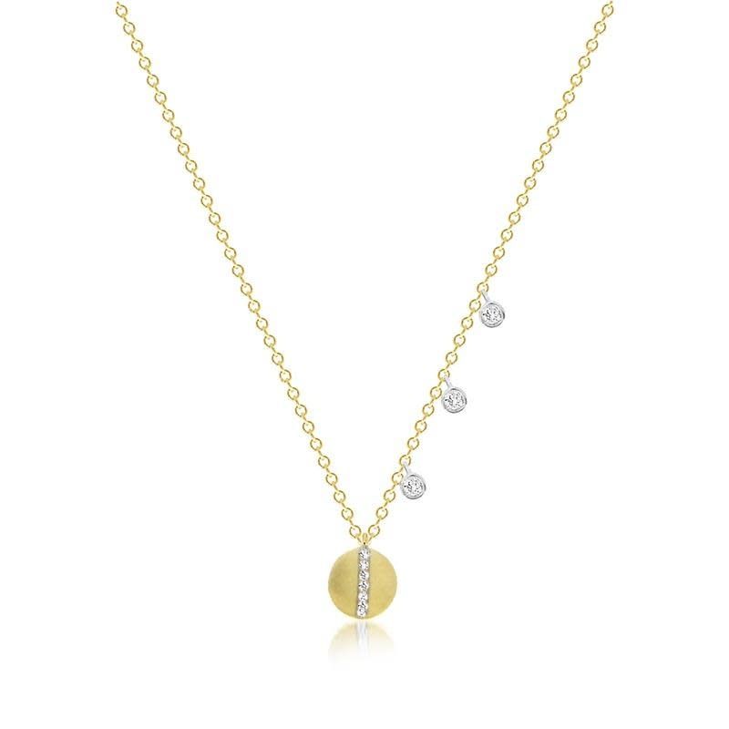 Meira T Delicate Diamond Disc Necklace with Off-centered Bezels