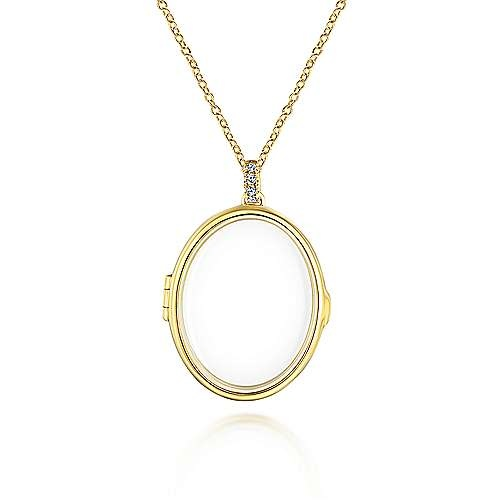 Gabriel & Co 14kt Gold Floating Charm Diamond Locket Necklace