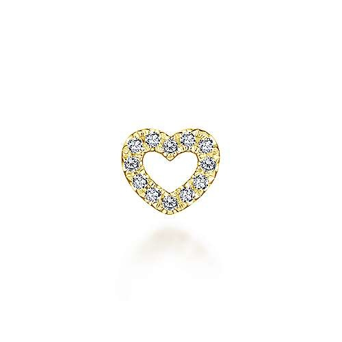 PT6514 14kt Gold Diamond Heart Charm