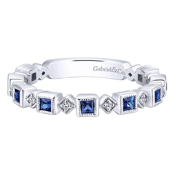 Gabriel & Co LR4912 Diamond and Sapphire Band
