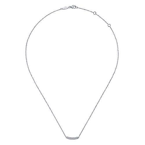 Gabriel & Co NK5989 Curved Diamond Pave Bar Necklace