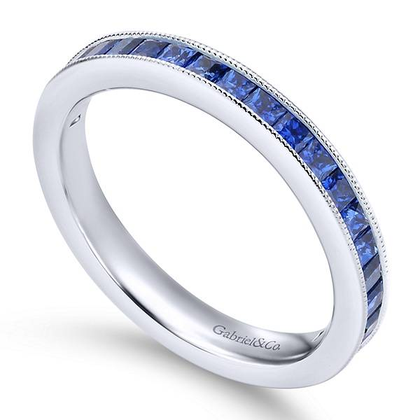 Gabriel & Co LR4574 princess cut sapphire band