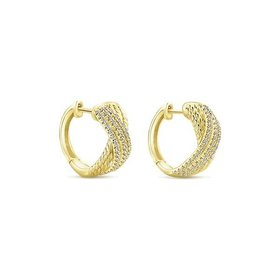 EG13230 yellow gold huggie earrings