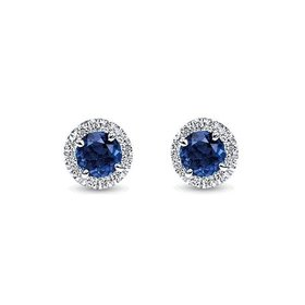 EG11602 Sapphire and Diamond Halo Earrings