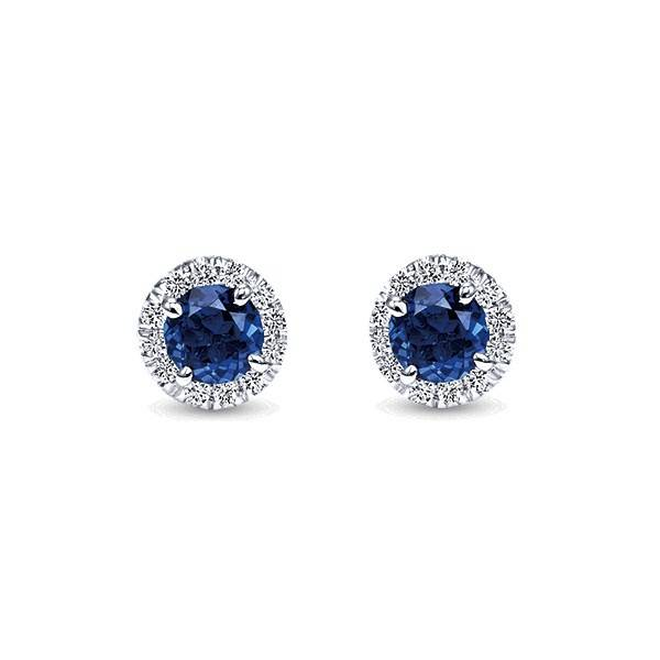Gabriel & Co EG11602 Sapphire and Diamond Halo Earrings