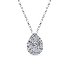 NK4938 pear shape diamond cluster necklace