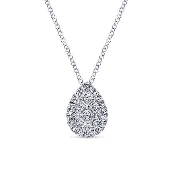 Gabriel & Co NK4938 pear shape diamond cluster necklace