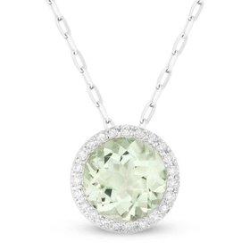 DN3386 Green Amethyst Halo Necklace