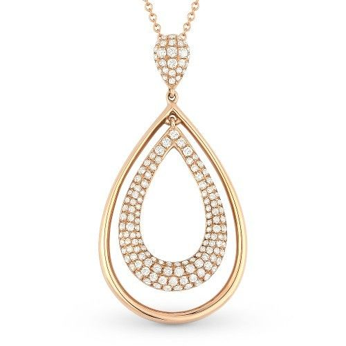Madison L DN4453 Rose Gold Diamond Drop Necklace