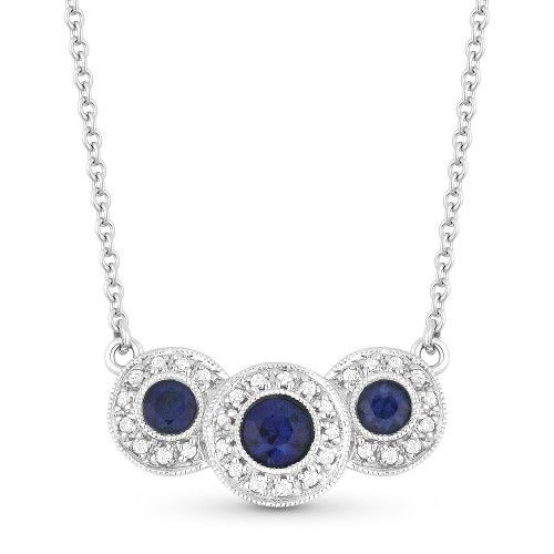 Madison L DN2857 diamond and sapphire halo necklace