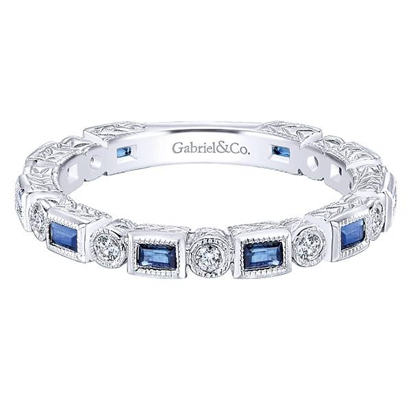 Gabriel & Co LR4380 Sapphire and diamond stackable band