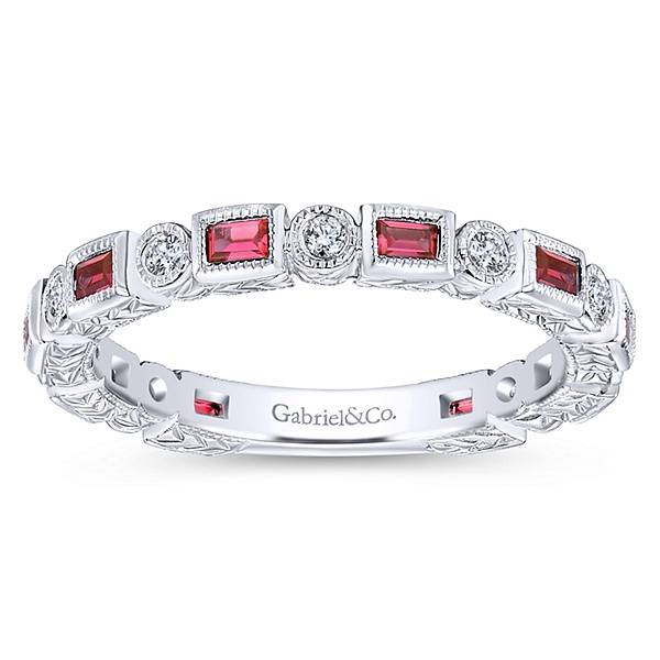 LR4380 Ruby and diamond stackable band
