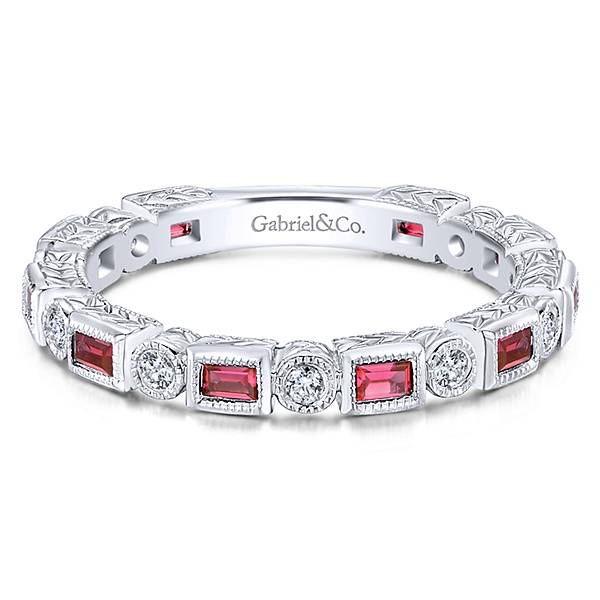Gabriel & Co LR4380 Ruby and diamond stackable band